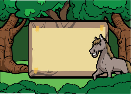 wood board: Horse forest scene with wood banner