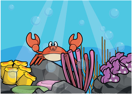 light maldives: crab underwater scenery Illustration