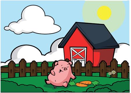 country side: Pig livestock Illustration