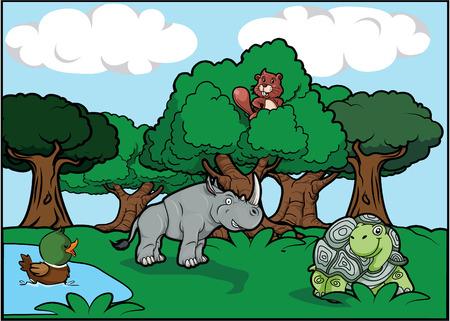 animal: Animal forest park scene