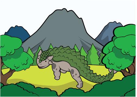 powerful volcano: anklysaurus Prehistoric scene