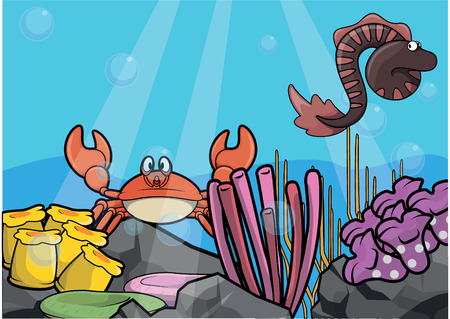 eel: Jelly fish,eel and crab Underwater scenery with white banner
