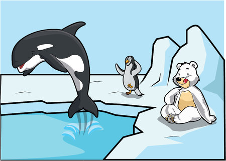 pope: arctic pope, penguins and bear Illustration