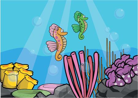 light maldives: Sea horse underwater scenery Illustration