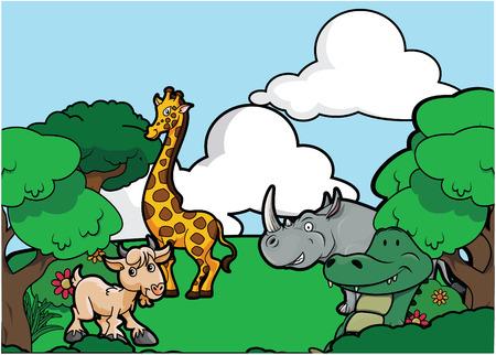 girafe: Green forest hill park scenery Illustration
