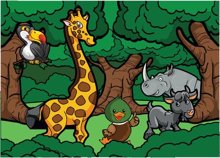 girafe: Zoo animal scene Illustration