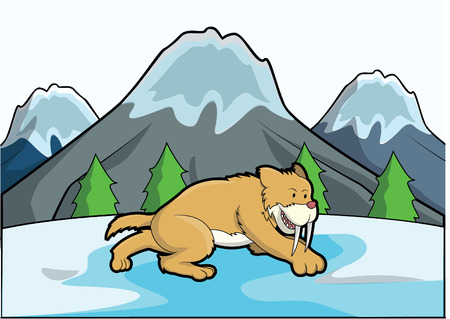 saber tooth: Sabertooth ice mountain scene