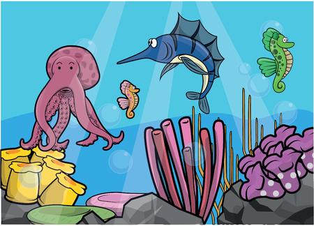 billfish: Marlin fish underwater scenery Illustration