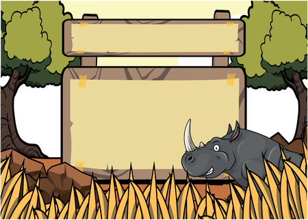 angry sky: Rhino Savanah safari scene with blank space