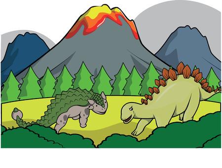 dinosaurus: Dinosaurus group Prehistoric scenery Illustration