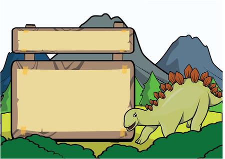 blank space: Prehistoric animal scene with blank space Illustration