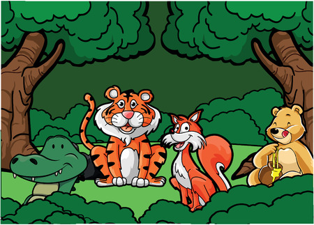 animal: Wild animal Jungle animal scene Illustration