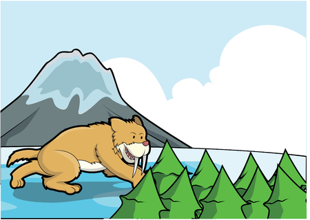 saber tooth: Sabertooth ice mountain scene