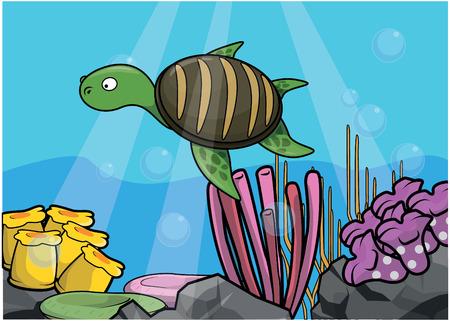 light maldives: Sea turtle underwater scenery Illustration
