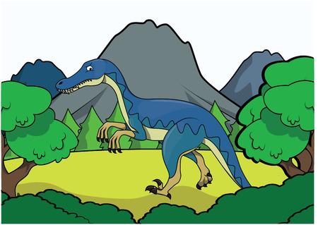 powerful volcano: Prehistoric animal scene Illustration