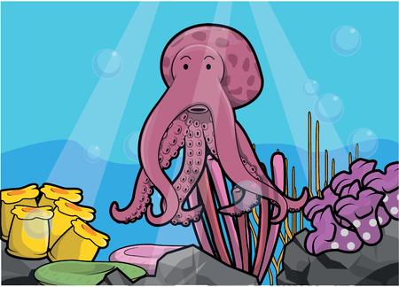 light maldives: Octopus underwater scenery Illustration