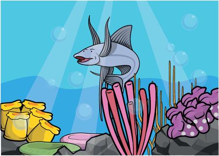 light maldives: Flying fish underwater scenery Illustration
