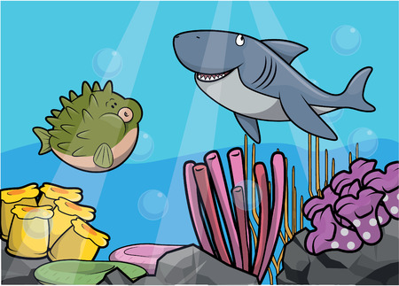underwater scene: Shark underwater scene