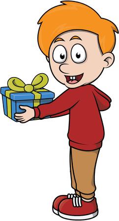 dar un regalo: El muchacho da un ejemplo de la historieta de regalo