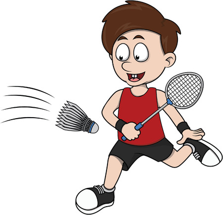 Boy playing badminton cartoon illustration