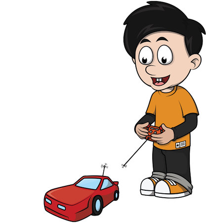 Jongen speelt rc auto cartoon illustratie Stockfoto - 51003503
