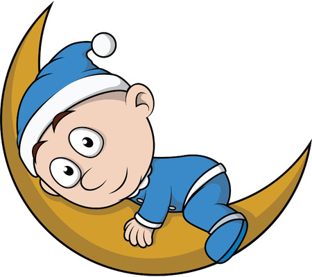 Baby boy sleep on moon cartoon illustration Illustration