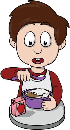 refusing: boy breakfast cartoon illustration
