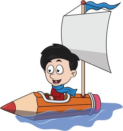 Juego del muchacho en barco de ilustración de dibujos animados de lápiz