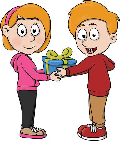 give: Boy give a gift cartoon