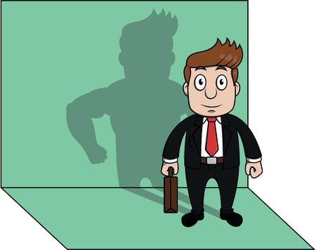 strong: Business man strong shadow