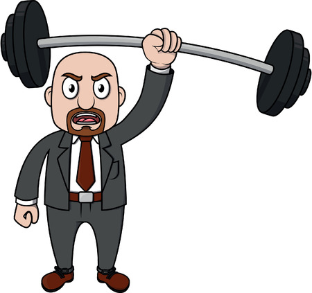 weightlifting: Old business man weightlifting Illustration