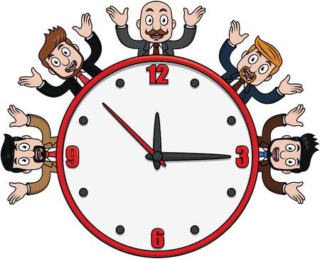 one on one meeting: Businessman clock  cartoon illustration