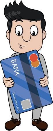 man holding card: Business man holding a big bank card Illustration