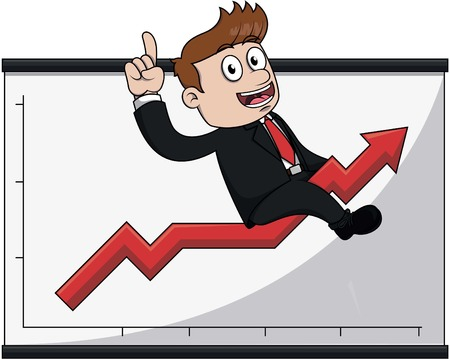 man pointing up: Business man up arrow Illustration