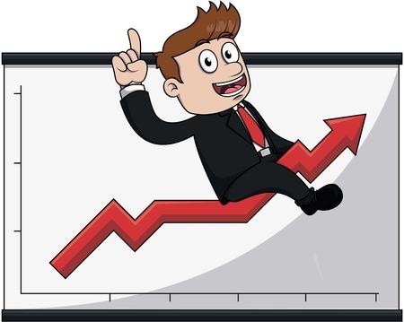 Business man up arrow Illustration