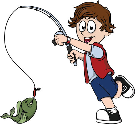 fishhook: Boy fishing