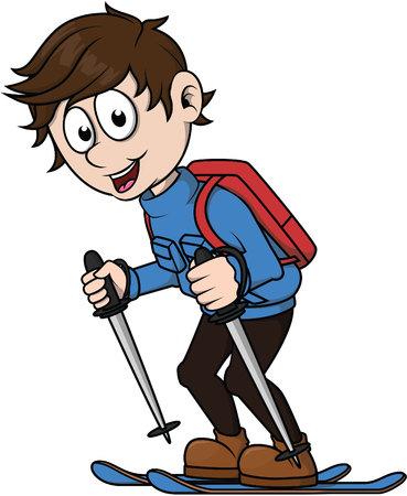narciarz: chłopiec na nartach Ilustracja