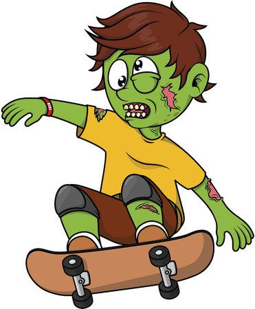 skate board: Zombie Boy playing skate board