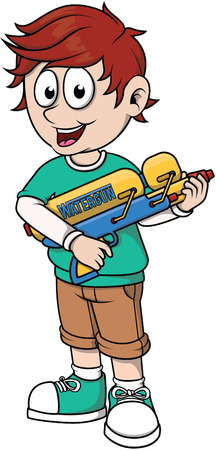 jongen speelt waterkanon