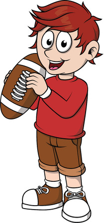 little league: Boy holding football