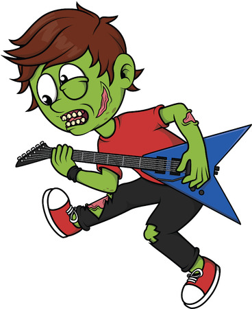 boy playing guitar: Zombie boy playing guitar