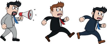 because: Running employee because angry boss