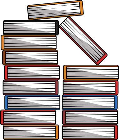 pile books: Pile books cartoon illustration