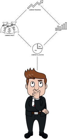 dealing: Business man thinking about work Illustration