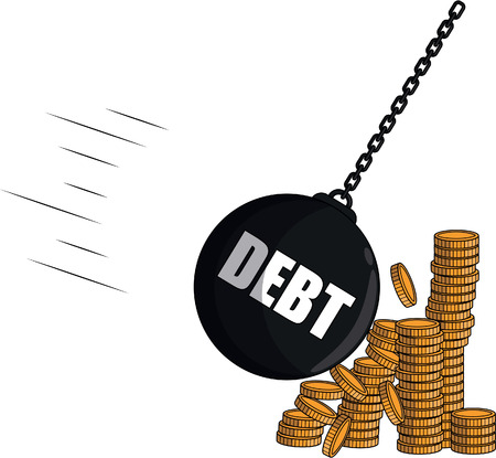 smashed: Debt strike coin money Illustration