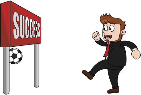 soccer goal: Business man soccer success goal