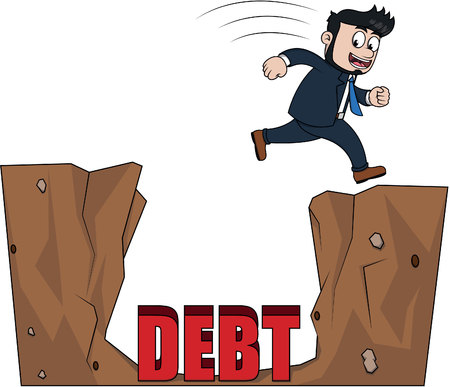 over: Business man jump over debt