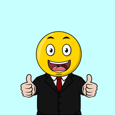 big smile: Two Thumb up and big smile happy business man Illustration