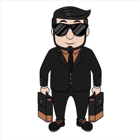 crouching: business man two briefcase Illustration