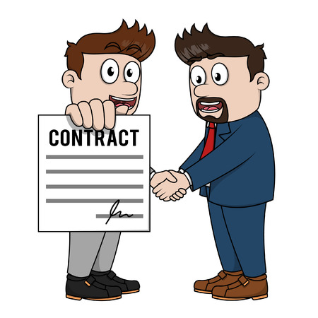 showing: Executive man showing contract